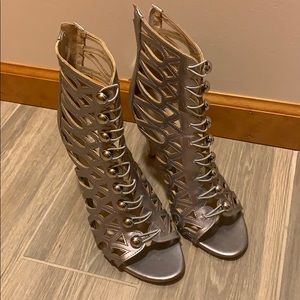 Guess Silver Gladiator Ankle Boot